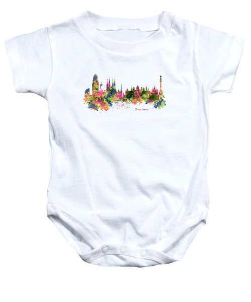 Barcelona Watercolor Skyline Baby Onesie by Marian Voicu