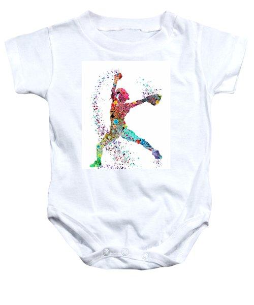 Baseball Softball Pitcher Watercolor Print Baby Onesie by Svetla Tancheva