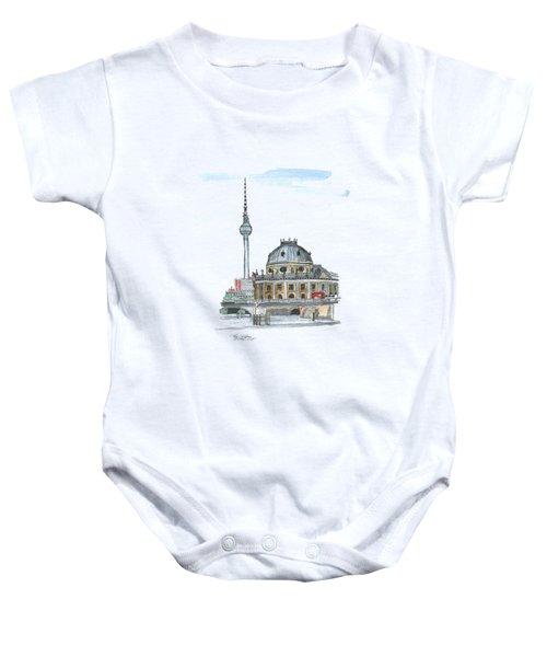 Berlin Fernsehturm Baby Onesie by Petra Stephens