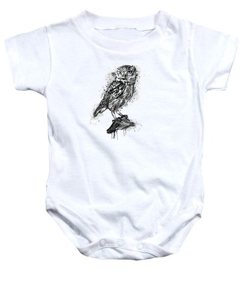 Black And White Owl Baby Onesie by Marian Voicu