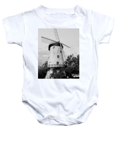 Black And White Windmill Baby Onesie by Sandy Taylor
