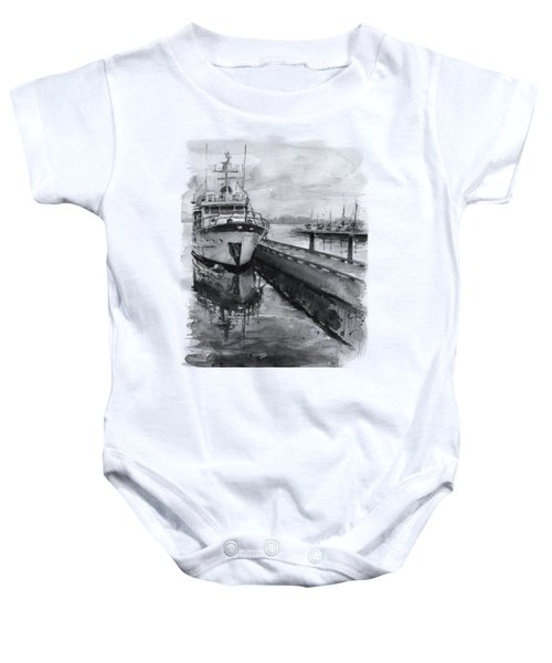 Boat On Waterfront Marina Kirkland Washington Baby Onesie by Olga Shvartsur