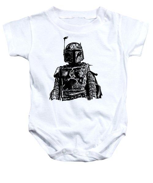 Boba Fett From The Star Wars Universe Baby Onesie by Edward Fielding