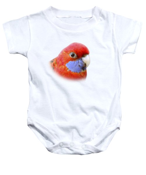 Bobby The Crimson Rosella On Transparent Background Baby Onesie by Terri Waters