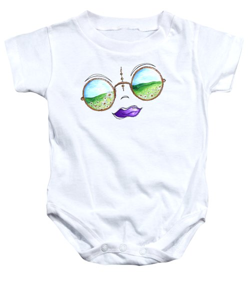 Boho Gypsy Daisy Field Sunglasses Reflection Design From The Aroon Melane 2014 Collection By Madart Baby Onesie by Megan Duncanson