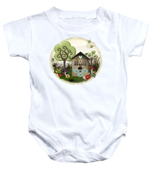 Bonnie Memories Whimsical Mixed Media Baby Onesie by Sharon and Renee Lozen