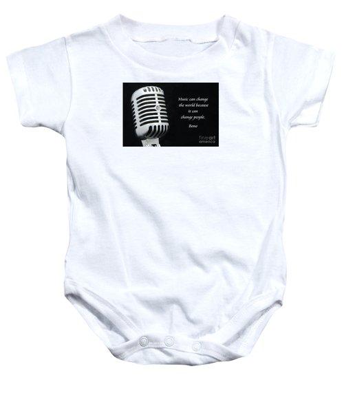 Bono On Music Baby Onesie by Paul Ward