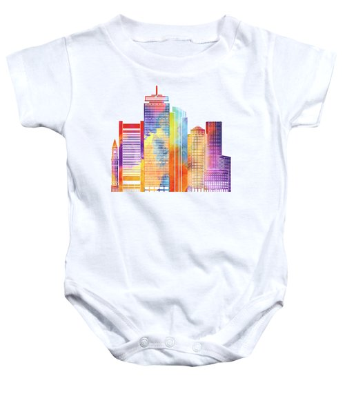 Boston Landmarks Watercolor Poster Baby Onesie by Pablo Romero