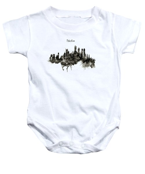 Boston Skyline Black And White Baby Onesie by Marian Voicu