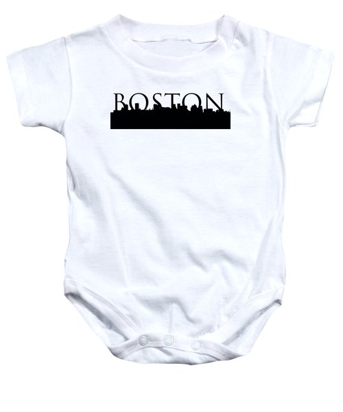 Boston Skyline Outline With Logo Baby Onesie by Joann Vitali