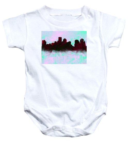 Boston Skyline Sky Blue  Baby Onesie by Enki Art