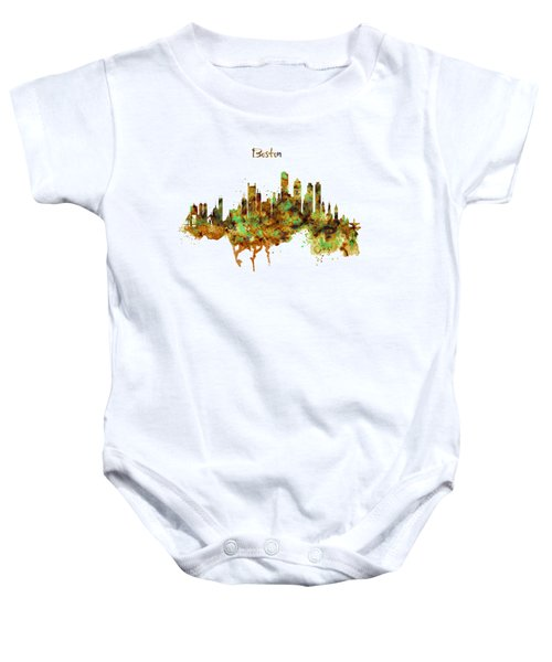 Boston Watercolor Skyline Baby Onesie by Marian Voicu