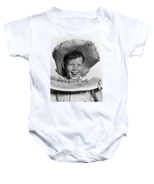 Boy Eating Watermelon, C.1940-50s Baby Onesie by H. Armstrong Roberts/ClassicStock
