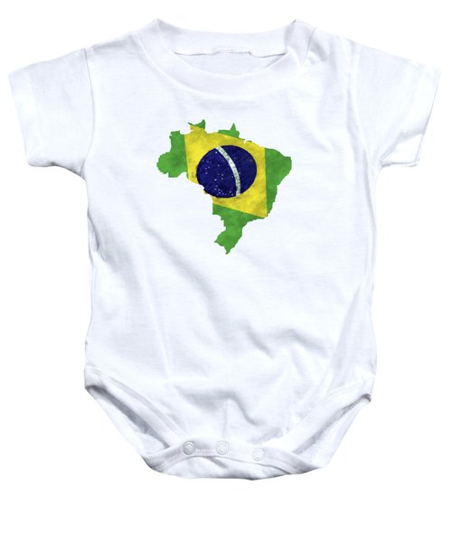 Brazil Map Art With Flag Design Baby Onesie by World Art Prints And Designs