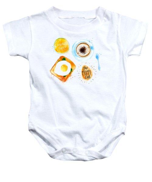Breakfast 02 Baby Onesie by Aloke Design