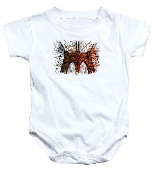 Brooklyn Bridge Art 1 Baby Onesie by Di Designs