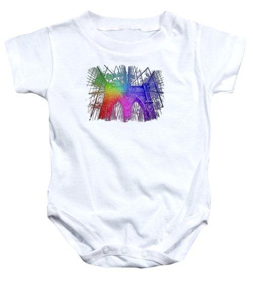 Brooklyn Bridge Cool Rainbow 3 Dimensional Baby Onesie by Di Designs