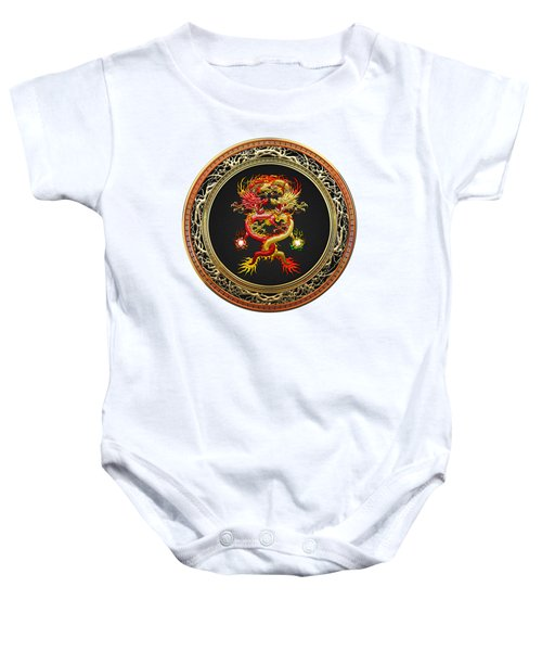 Brotherhood Of The Snake - The Red And The Yellow Dragons On White Leather Baby Onesie by Serge Averbukh