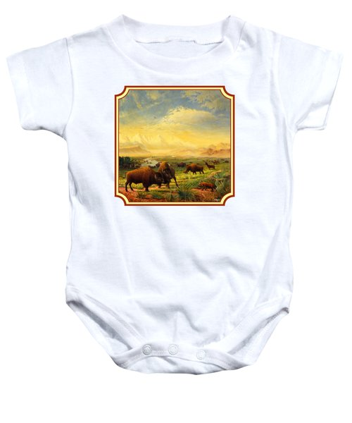 Buffalo Fox Great Plains Western Landscape Oil Painting - Bison - Americana - Square Format Baby Onesie by Walt Curlee