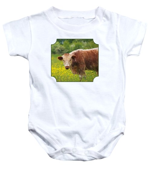 Buttercup - Brown Cow Baby Onesie by Gill Billington