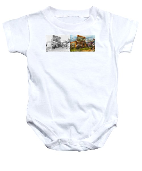 Carnival - Wild Rose And Rattlesnake Joe 1920 - Side By Side Baby Onesie by Mike Savad