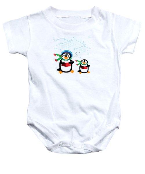 Caroling Penguins Baby Onesie by Jane E Rankin