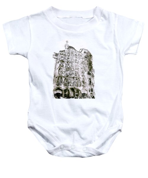 Casa Batllo Barcelona Black And White Baby Onesie by Marian Voicu