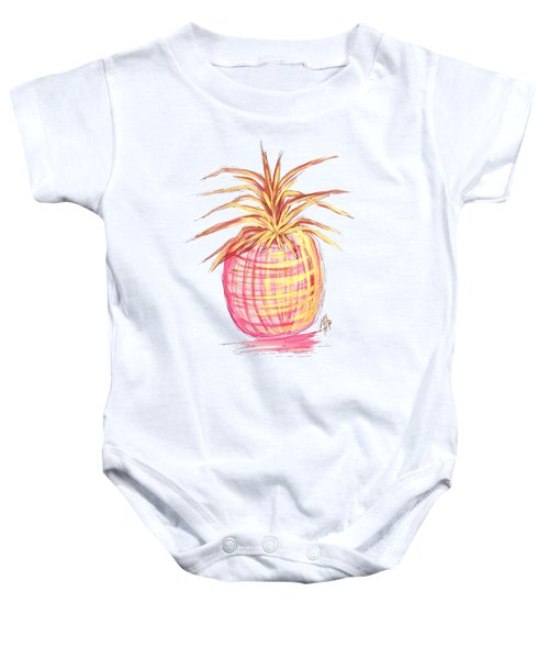 Chic Pink Metallic Gold Pineapple Fruit Wall Art Aroon Melane 2015 Collection By Madart Baby Onesie by Megan Duncanson