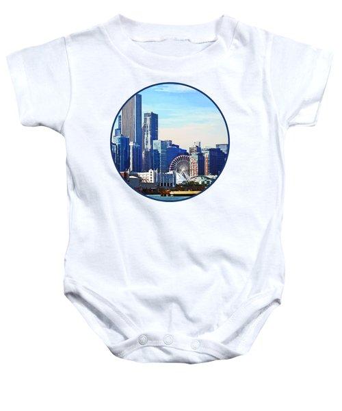 Chicago Il - Chicago Skyline And Navy Pier Baby Onesie by Susan Savad