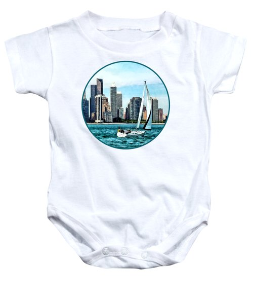 Chicago Il - Sailboat Against Chicago Skyline Baby Onesie by Susan Savad