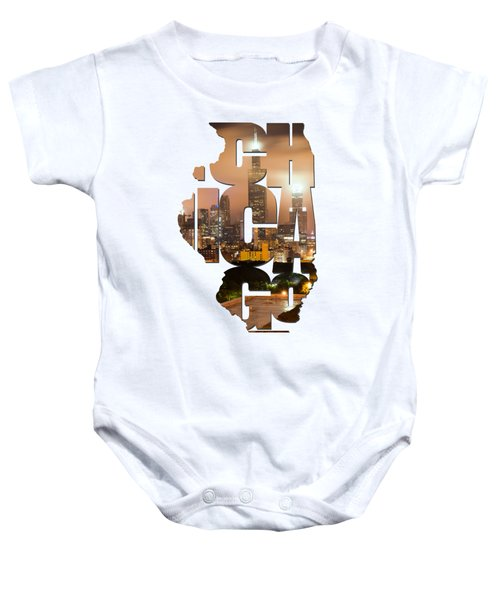 Chicago Illinois Typography - Chicago Skyline From The Rooftop Baby Onesie by Gregory Ballos