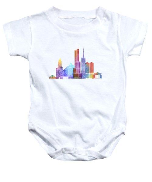 Chicago Landmarks Watercolor Poster Baby Onesie by Pablo Romero