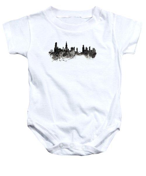 Chicago Skyline Black And White Baby Onesie by Marian Voicu