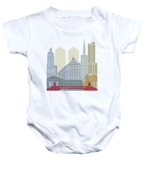 Chicago Skyline Poster Baby Onesie by Pablo Romero