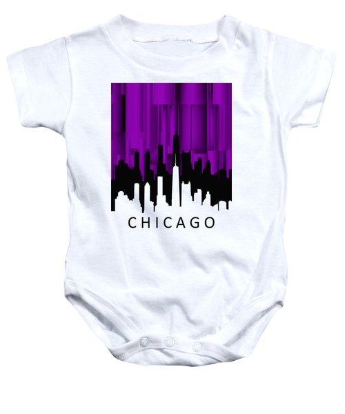 Chicago Violet Vertical  Baby Onesie by Alberto RuiZ