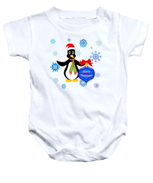 Christmas Penguin Baby Onesie by Methune Hively