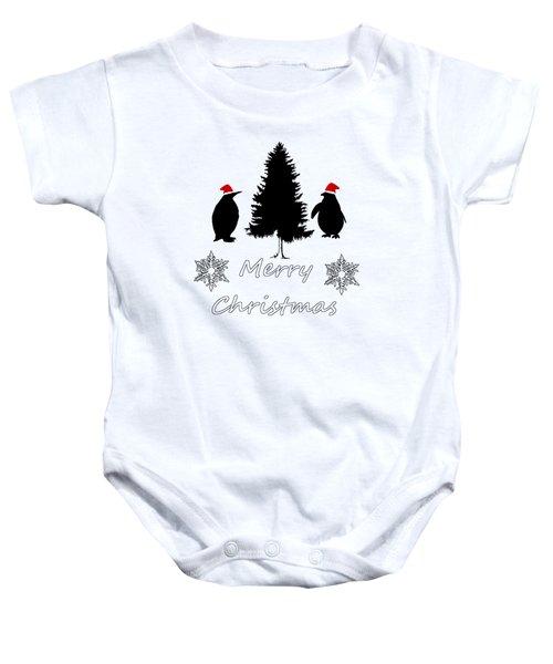 Christmas Penguins Baby Onesie by Mordax Furittus