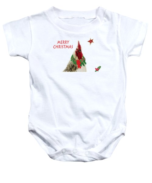 Christmas Rooster Tee-shirt Baby Onesie by Donna Brown