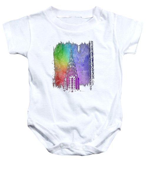 Chrysler Spire Cool Rainbow 3 Dimensional Baby Onesie by Di Designs