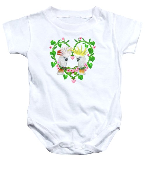Cockatoos Of The Heart Baby Onesie by Glenn Holbrook