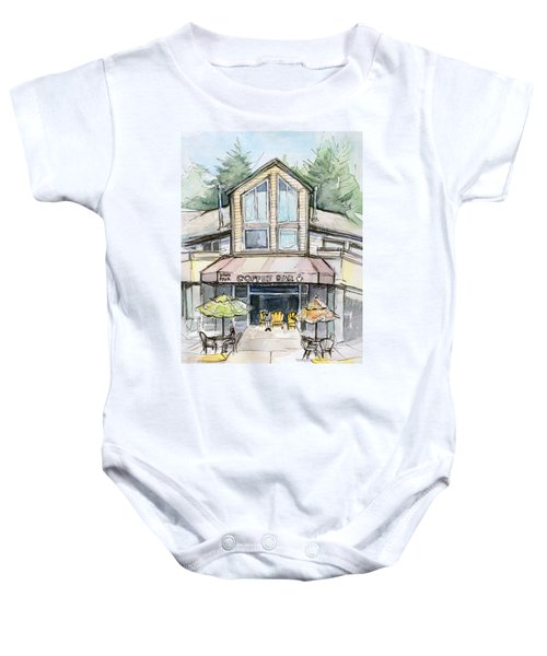 Coffee Shop Watercolor Sketch Baby Onesie by Olga Shvartsur