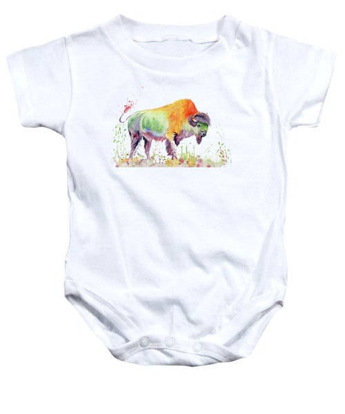 Colorful American Buffalo Baby Onesie by Melly Terpening