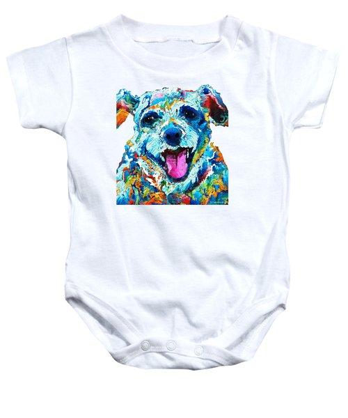 Colorful Dog Art - Smile - By Sharon Cummings Baby Onesie by Sharon Cummings