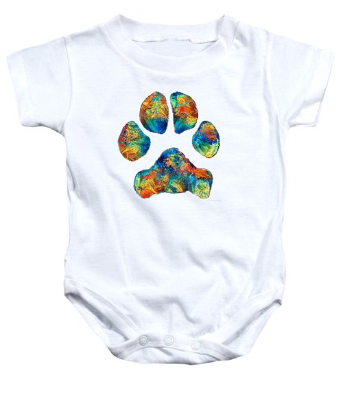 Colorful Dog Paw Print By Sharon Cummings Baby Onesie by Sharon Cummings