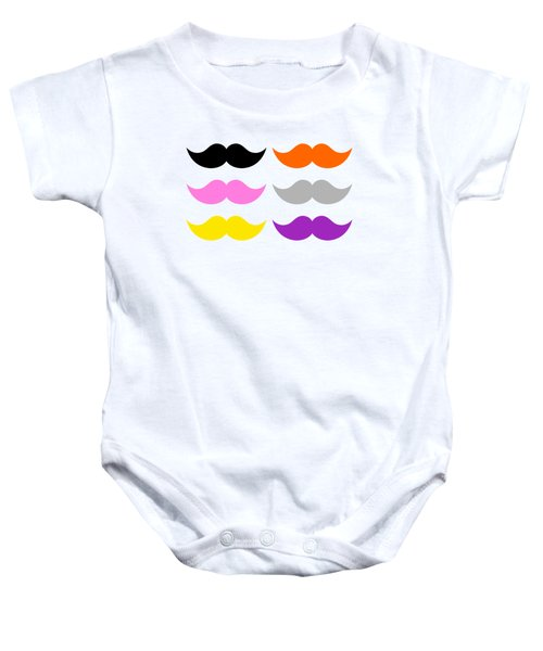 Colorful Mustaches Baby Onesie by Tigerlynx