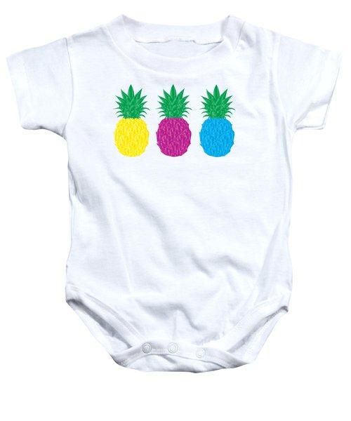 Colorful Pineapples Baby Onesie by Leah Hawkins