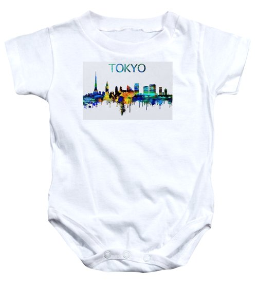 Colorful Tokyo Skyline Silhouette Baby Onesie by Dan Sproul