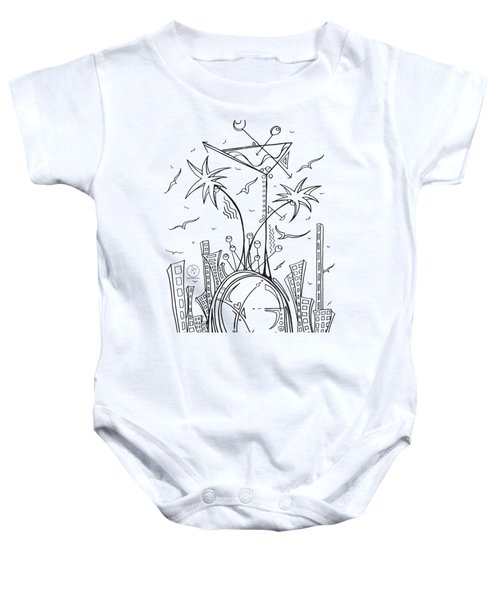 Coloring Page With Beautiful City Martini Drawing By Megan Duncanson Baby Onesie by Megan Duncanson