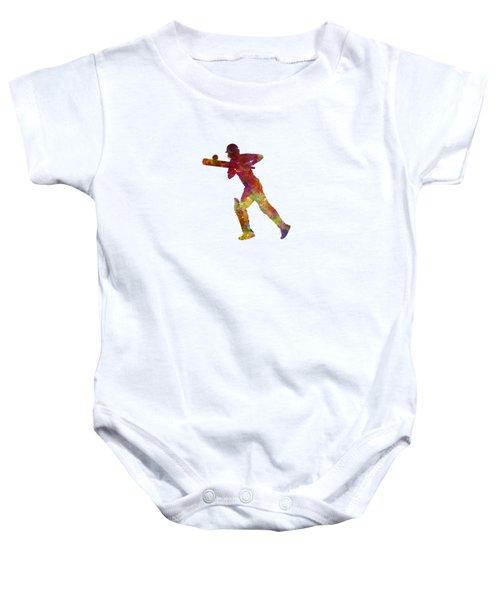Cricket Player Batsman Silhouette 06 Baby Onesie by Pablo Romero