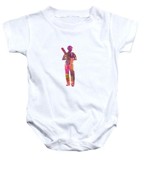 Cricket Player Batsman Silhouette 10 Baby Onesie by Pablo Romero